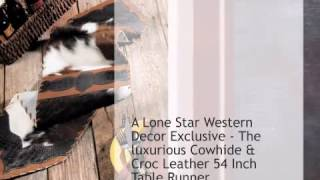 Cowhide & Croc Leather Table Runner - 54 Inch - Lonestarwesterndecor.com