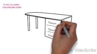 How to Draw a computer desk / Как нарисовать компьютерный стол