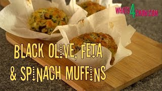 Black Olive, Feta & Spinach Muffins. Savory Muffins Recipe With A Taste Of The Mediterranean.