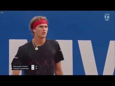 Amazing TIE-BREAK!! Alexander Zverev VS Yannick Hanfmann 1/8 Munich Open 2018