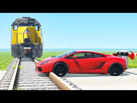 Cars vs Rails crashes - Beamng drive