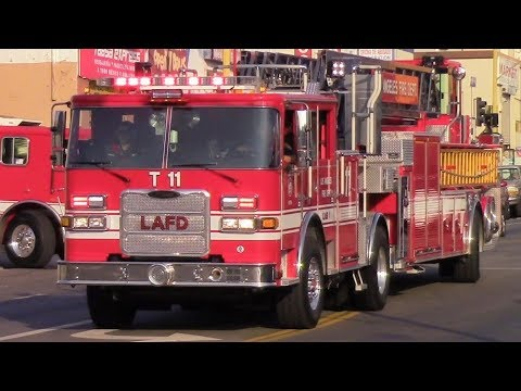 LAFD Light Force 11 (NEW Truck) & Rescue 6 Responding