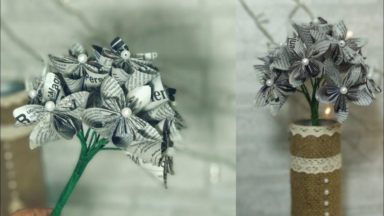 Diy Bunga Dari Koran Bekas 1 Tutorial Shabby Rustic Vintage Flower Youtube