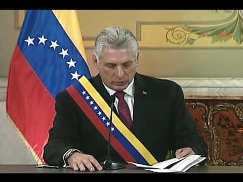 Maduro recibe al presidente cubano Miguel Díaz-Canel en el Palacio de Miraflores