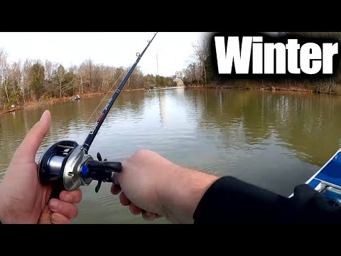 Winter Fishing From A Boat (Catching Largemouth Bass And White Bass)