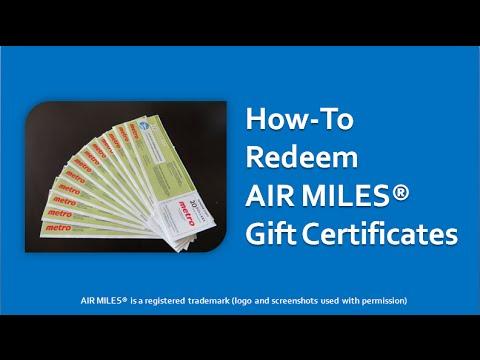 Air Miles Redeeming Gift Certificates