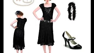 Charleston Kleid schwarz im 20er Vintage Stil + Outfit Tipps