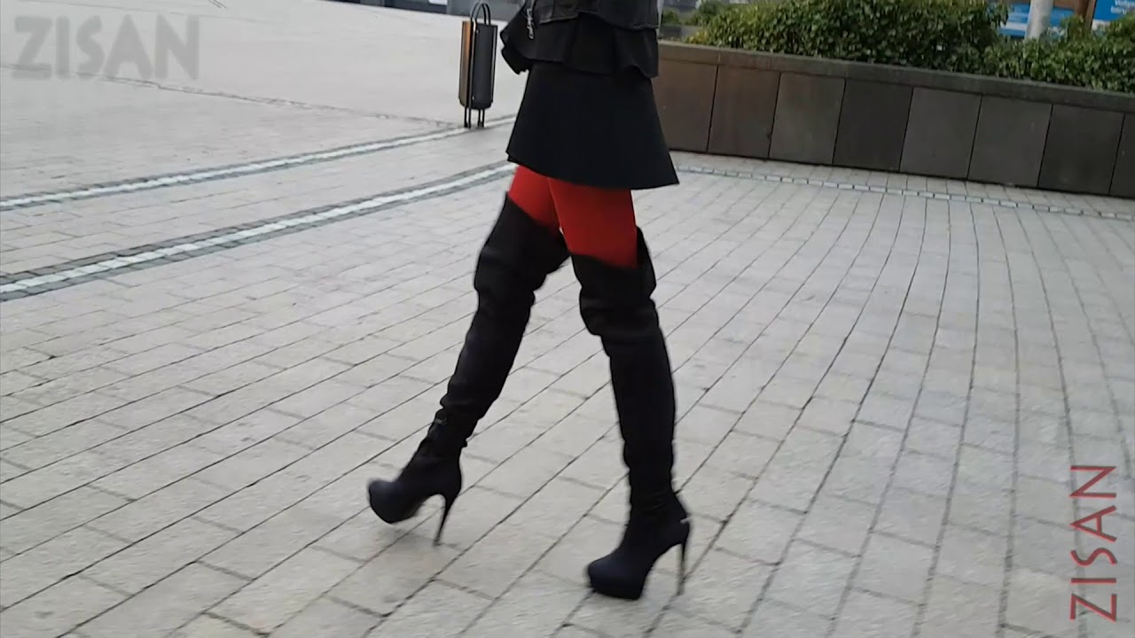 [411] thigh high boots and red pantyhose