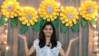 PAPER FLOWERS DECORATION FOR BIRTHDAY AT HOME   BABY SHOWER DECORATION IDEAS