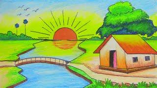 How to draw Easy sun rising Scenery Step By Step    সূর্যোদয়ের দৃশ্য    सूरज उगते हुए दृश्य
