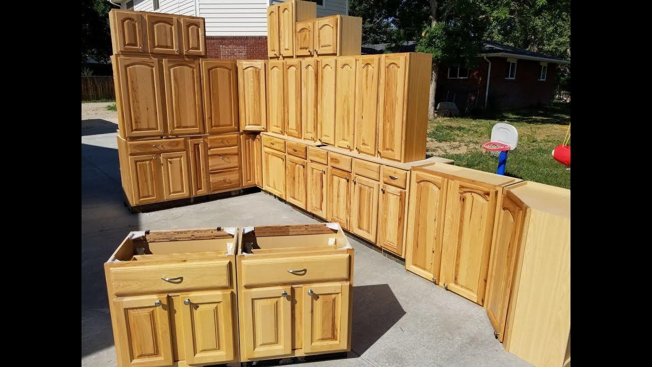 Large Hickory Kitchen Cabinet Set W
