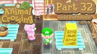 Animal Crossing: New Leaf - Part 32: Collecting Gold Furniture!  Donate Your Gold Nuggets!