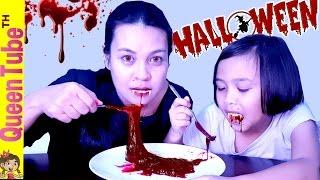 สไลม์สีเลือด สุดสยอง ต้อนรับ ฮาโลวีน [Edible Bloody Slime] | QueenTubeTH ✔︎