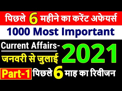 Last 6 Months Current Affairs 2021 Part 1   January To July Top 1000 Current Affairs 2021 In Hindi