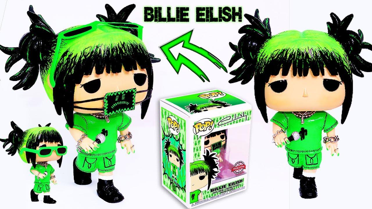 Diy Creating A Custom Billie Eilish Funko Pop Fanart Box And Figure Green Look Youtube