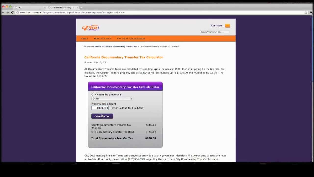 California Tax Calculator >> California Documentary Transfer Tax Calculator