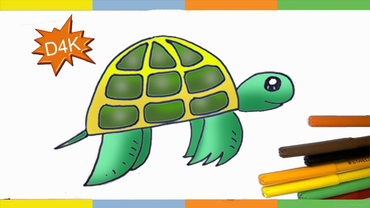 How to draw a turtle step by step for kids How To Draw EASY