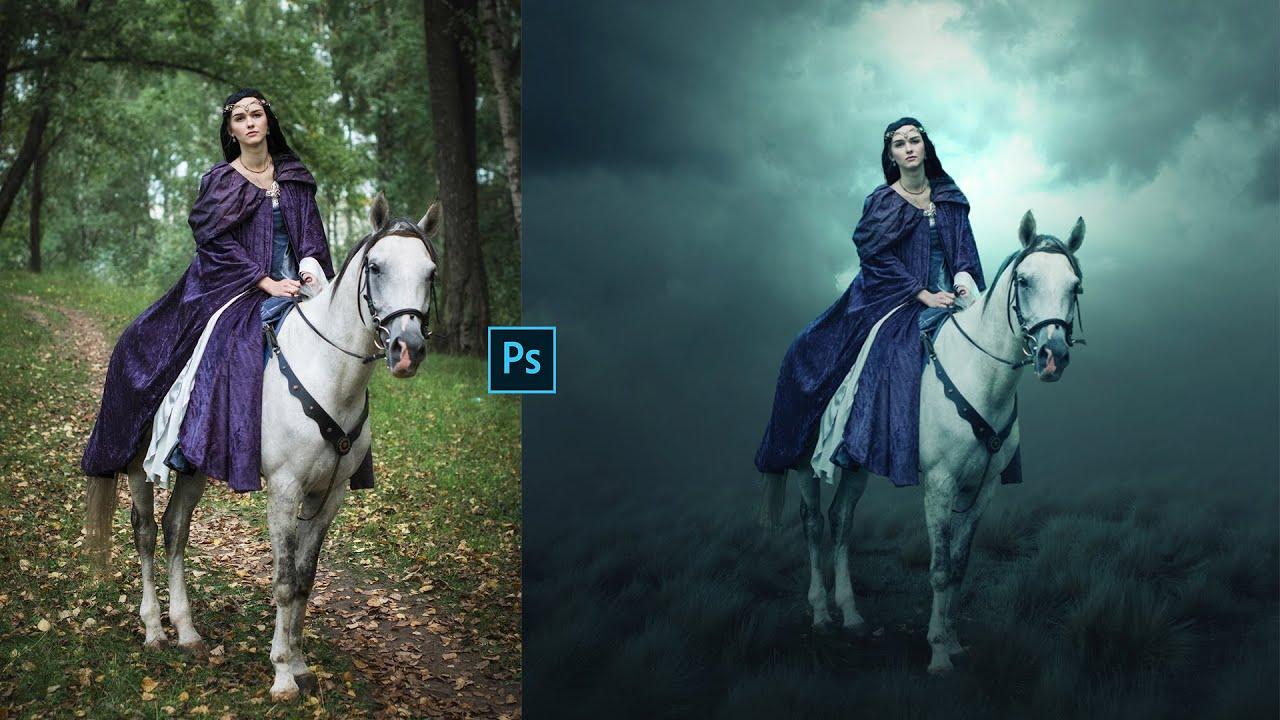Photoshop Tutorial; Fantasy Art   Girl On Horse   Photo Manipulation