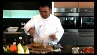 Tetsuya Wakuda, OAM of Tetsuya's in Sydney cooks Grilled Huon Atlan...