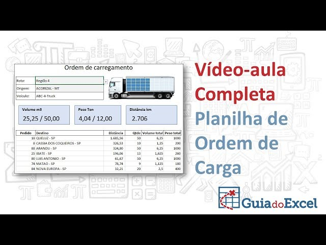 Planilha de ordem de carregamento de cargas - Excel