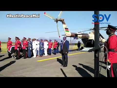 Brief ceremony held on the Kabarak Airstrip as Mzee Moi's body arrives for military burial