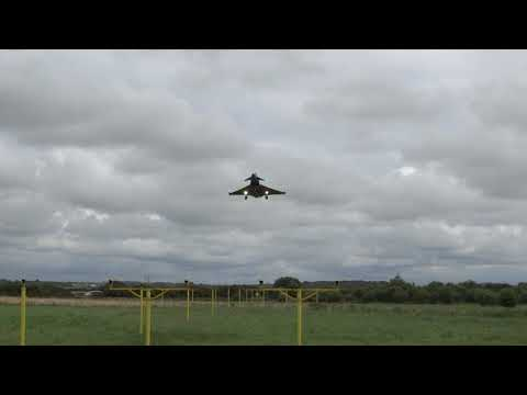 Fantastically low Approach by Eurofighter Typhoon - Blackpool Airport 12/8/2017