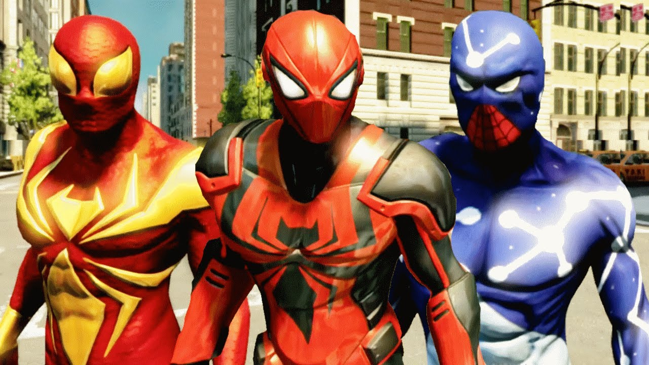 the amazing spider man 2 - all dlc suits & showcasing with gameplay