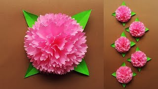 How to Make Paper Flowers Easy for Wall Decoration   DIY Home Decor Ideas