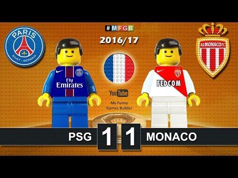 Paris Saint Germain - PSG vs MONACO 1-1 • Ligue1 2017 ( All Goals & Highlights Lego Football )