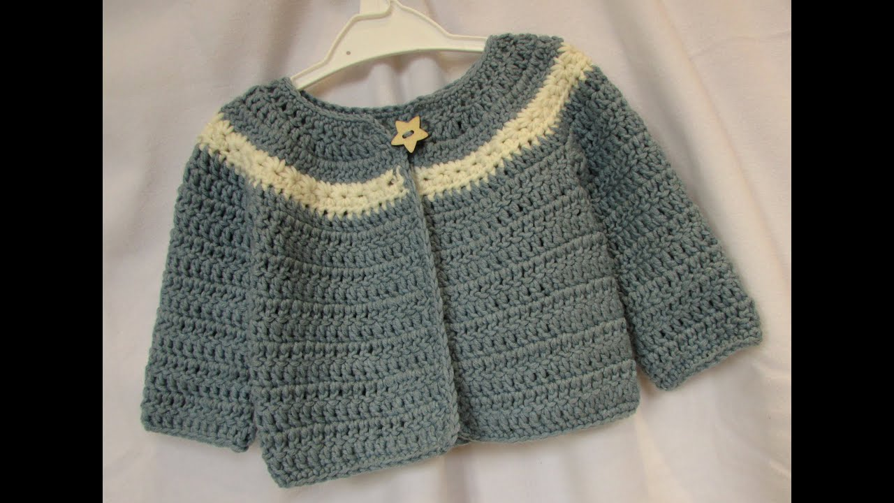 448d53e4d407 VERY EASY crochet cardigan   sweater   jumper tutorial - baby and ...