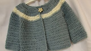 Repeat youtube video VERY EASY crochet cardigan / sweater / jumper tutorial - baby and child sizes