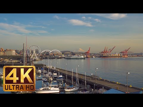 4K City Relax Video from Seattle - PIER 66 in Seattle - 1 Hour