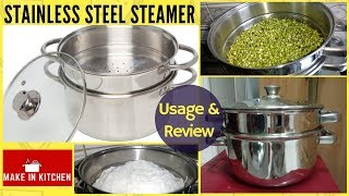 Usage & Review : Vinod Stainless Steel 2-Tier Steamer with Glass Lid | Make In Kitchen