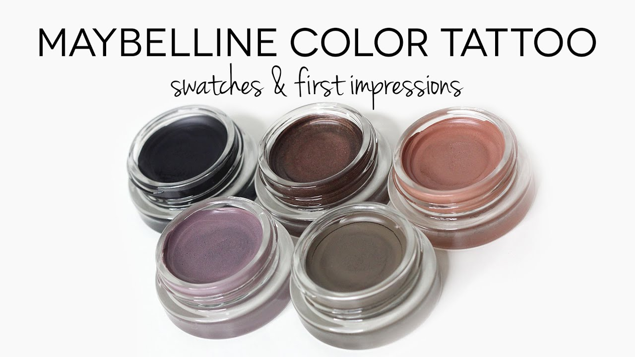 Maybelline Color Tattoo Leather Collection Swatches - YouTube