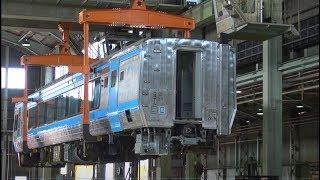 JR四国多度津工場 車体クレーン持ち上げ実演