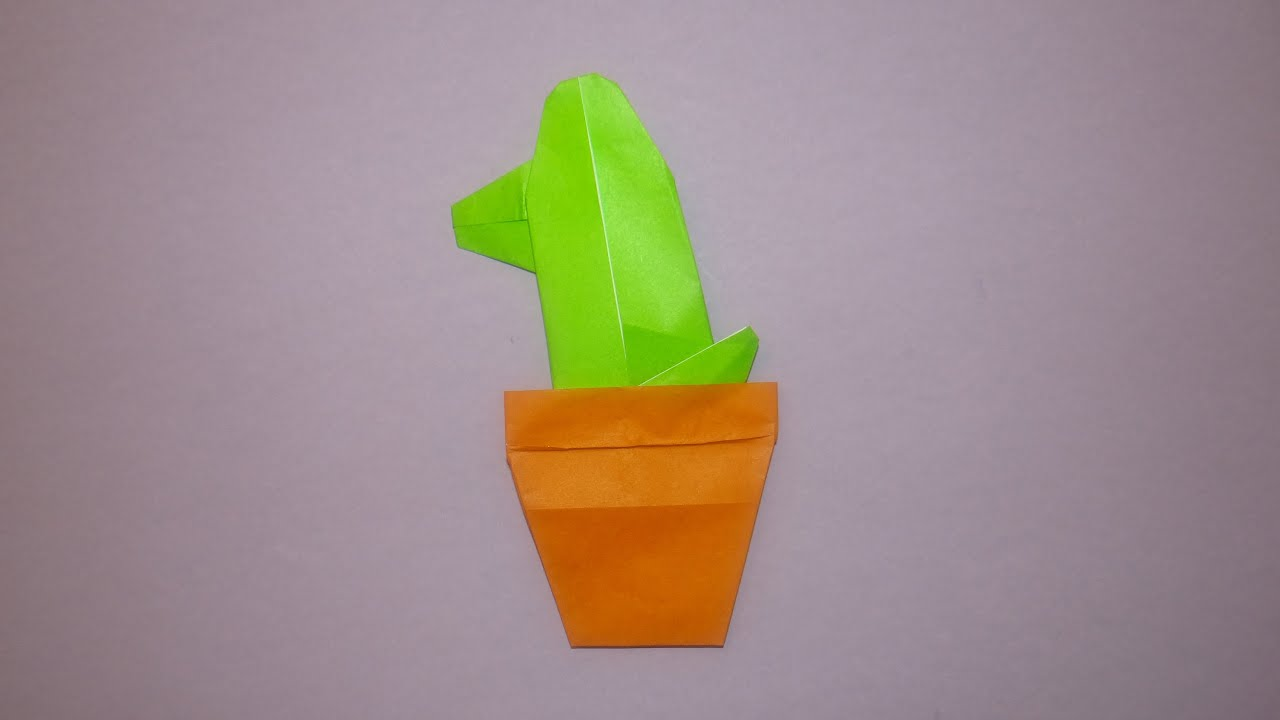 How To Make An Origami Cactus In A Pot - YouTube - photo#21