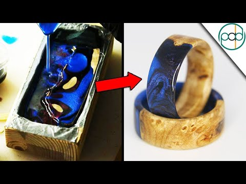 Making Galaxy Resin Rings with Junk Wood