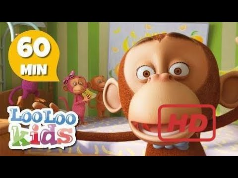 Five Little Monkeys - Awesome Songs With Animals | Looloo Kids  # 166