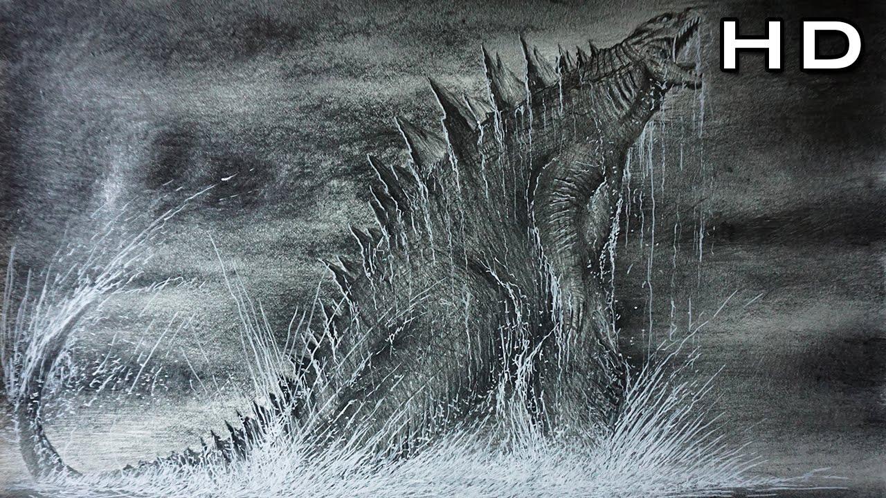 Dibujo épico De Godzilla 2014 Saliendo Del Mar Versión Rápida
