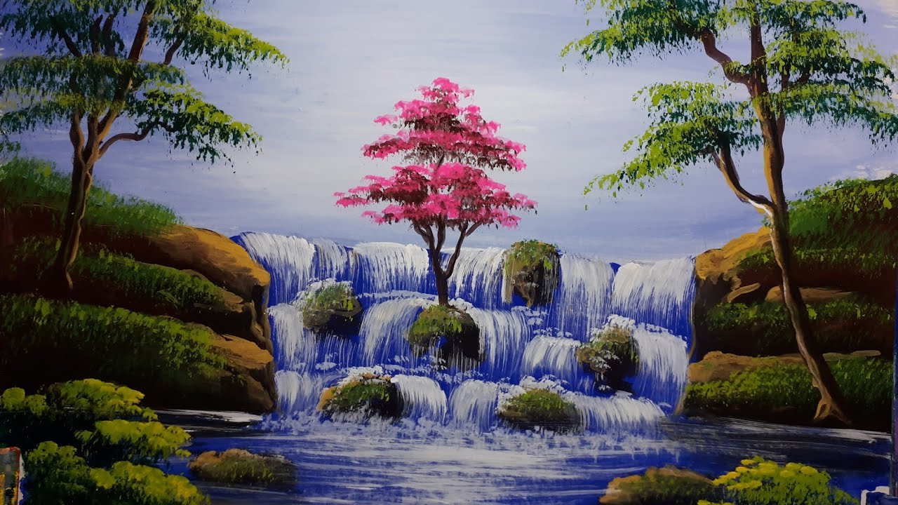 Beautiful nature and waterfall painting for beginners - watercolour  tutorial step by step