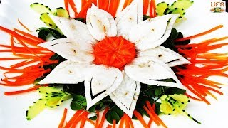 Gorgeous Garnish Of Radish & Carrot Rose Flower With Cucumber Carving Decorations