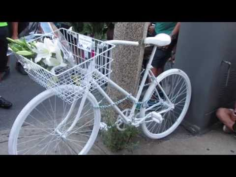Ghost Bike Dedication:  Dr. Anita Kurmann -- Boston August 20, 2015