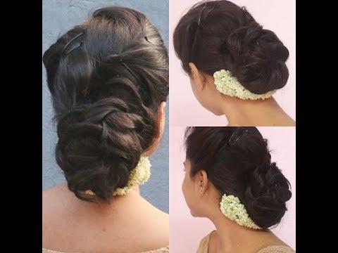 Bun Hairstyle With Jasmine Flowergajramessy Bunbeautybook Youtube