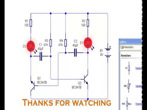 led chaser circuit | BC 547 transistor | running light ...