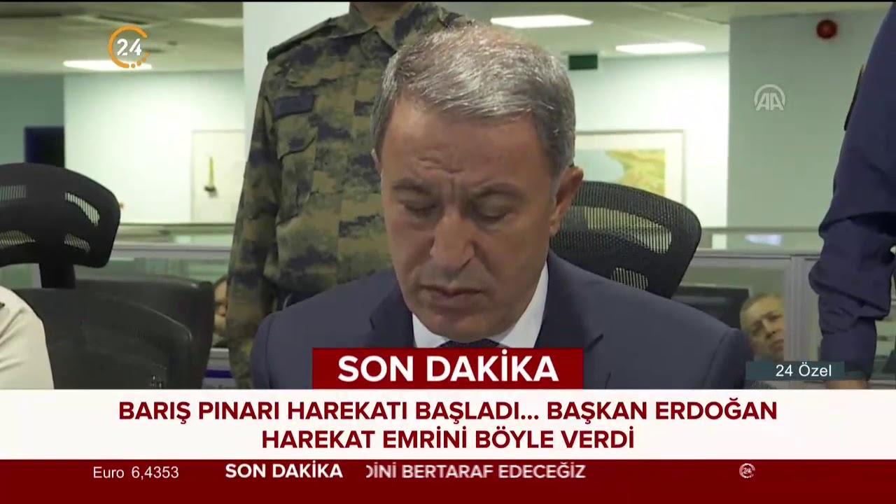 Erdoğan'ın Barış Pınarı Harekatı için Bakan Hulusi Akar'a talimatı verdiği konuşma