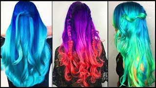 Top  Amazing Colorful Rainbow Long Hair Transformation Tutorials Compilation!Best Hair Salon