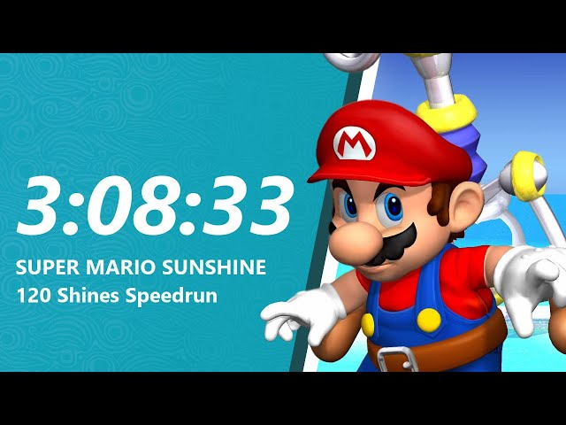 Super Mario Sunshine 120 Shines Speedrun in 3:08:33