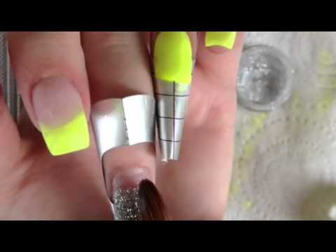 neon yellow acrylic nails, how to, acrylics - YouTube