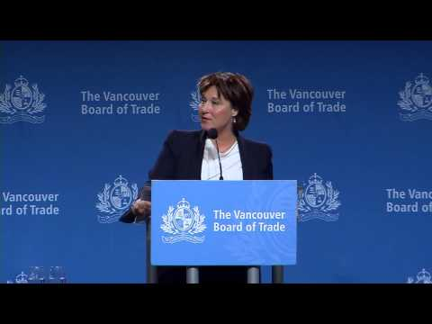 Premier Christy Clark gives economic address to The Vancouver Board of Trade