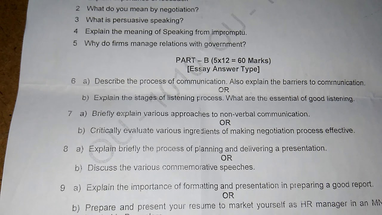 Business Communications OU MBA PREVIOUS YEAR QUESTION PAPER 2017